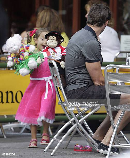Hugh Jackman and daughter Ava Jackman are sighted dining out on the Streets of Manhattan on July 10 2009 in New York City