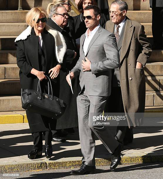 Hugh Jackman and Deborah Furness depart the funeral of fashion designer Oscar De La Renta at St Ignatius Of Loyola on November 3 2014 in New York City