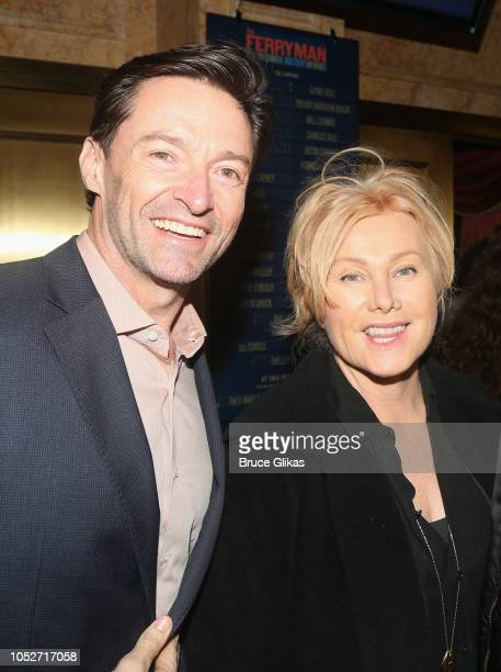 Hugh Jackman and Deborra Lee Furness pose at the opening night of the new play 'The Ferryman' on Broadway at The Bernard B Jacobs Theatre on October...