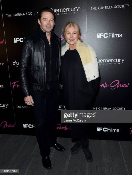 Hugh Jackman and Deborra Lee Jackman attend The Cinema Society Bluemercury Host The Premiere Of IFC Films' 'Freak Show' at Landmark Sunshine Cinema...