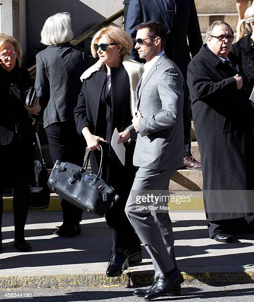 Hugh Jackman and DeborraLee Furness are seen at the funeral of fashion designer Oscar De La Renta at St Ignatius Of Loyola on November 3 2014 in New...