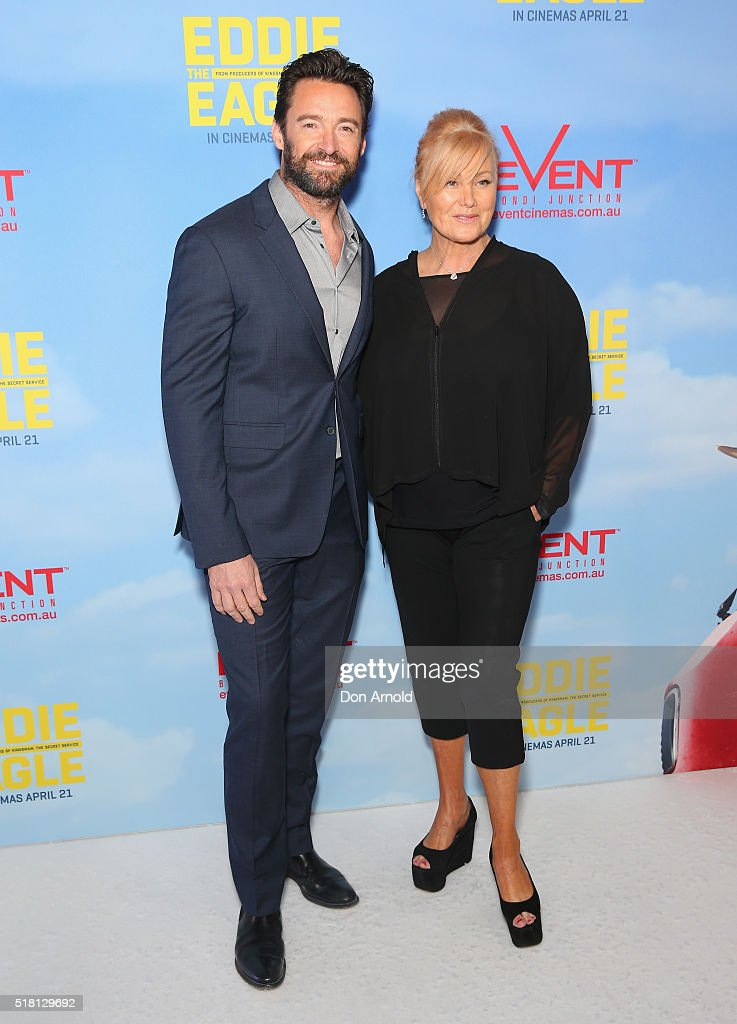 Hugh Jackman and Deborra-Lee Furness arrive ahead of the Eddie The Eagle screening at Event Cinemas Bondi Junction on March 30, 2016 in Sydney, Australia.