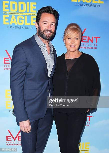 Hugh Jackman and DeborraLee Furness arrives ahead of the Eddie The Eagle screening at Event Cinemas Bondi Junction on March 30 2016 in Sydney...