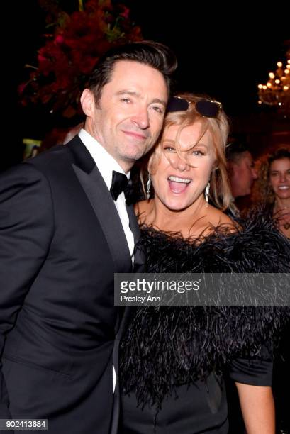 Hugh Jackman and Deborralee Furness attend FOX FX and Hulu 2018 Golden Globe Awards After Party at The Beverly Hilton Hotel on January 7 2018 in...