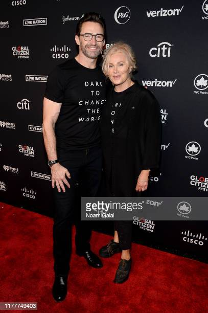 Hugh Jackman and Deborralee Furness attend the 2019 Global Citizen Festival Power The Movement in Central Park on September 28 2019 in New York City