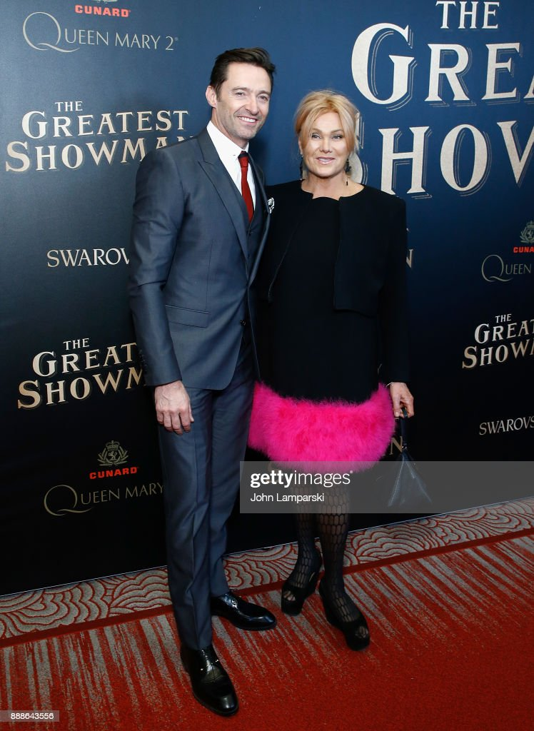 Hugh Jackman and Deborra-lee Furness attend 'The Greatest Showman' World Premiere aboard the Queen Mary 2 at the Brooklyn Cruise Terminal on December 8, 2017 in the Brooklyn borough of New York City.