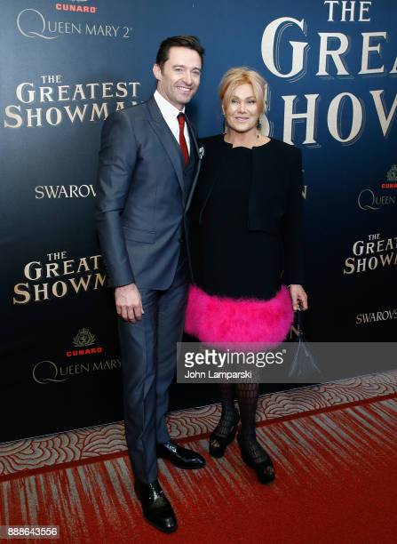 Hugh Jackman and Deborralee Furness attend 'The Greatest Showman' World Premiere aboard the Queen Mary 2 at the Brooklyn Cruise Terminal on December...