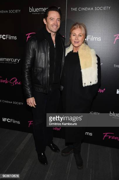 Hugh Jackman and Deborralee Furness attend the premiere of IFC Films' 'Freak Show' hosted by The Cinema Society at Landmark Sunshine Cinema on...