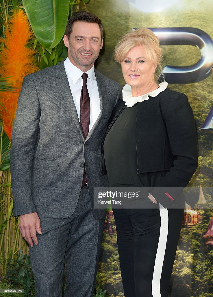 Hugh Jackman and Deborra-Lee Furness attend the World Premiere of 'Pan' at Odeon Leicester Square on September 20, 2015 in London, England.