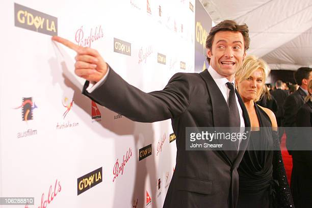 Hugh Jackman and DeborraLee Furness during G'Day LA Australia Week 2006 Penfolds Icon Gala Dinner Red Carpet in Los Angeles California United States