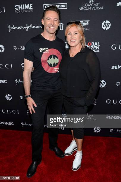 Hugh Jackman and Deborralee Furness pose in the VIP Lounge during the 2017 Global Citizen Festival in Central Park on September 23 2017 in New York...
