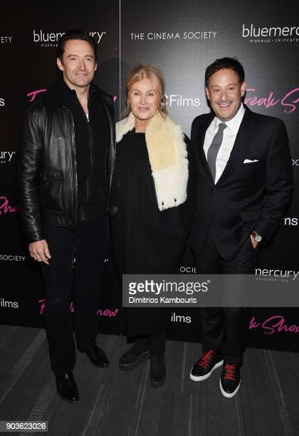 Hugh Jackman and Deborralee Furness pose with a guest at the premiere of IFC Films' 'Freak Show' hosted by The Cinema Society at Landmark Sunshine...