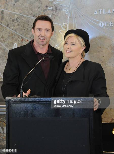 Hugh Jackman And DeborraLee Furness visit the Empire State Building in celebration of Australia Day on January 24 2014 in New York United States