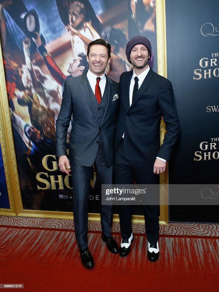 Hugh Jackman and Director Michael Gracey attend 'The Greatest Showman' World Premiere aboard the Queen Mary 2 at the Brooklyn Cruise Terminal on December 8, 2017 in the Brooklyn borough of New York City.