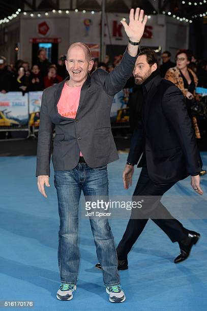 Hugh Jackman and Eddie Edwards arrive for the European premiere of 'Eddie The Eagle' at Odeon Leicester Square on March 17 2016 in London England