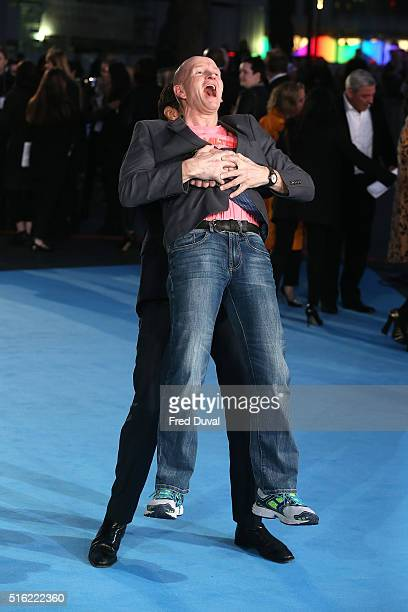 Hugh Jackman and Eddie The Eagle Edwards attend the European Premiere of Eddie The Eagle at Odeon Leicester Square on March 17 2016 in London England