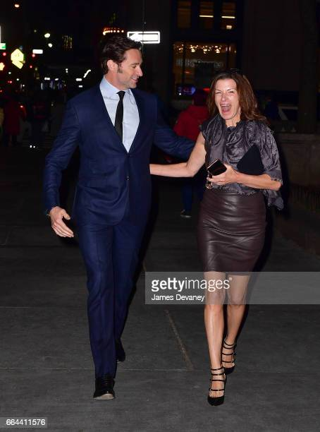 Hugh Jackman and guest arrive to the Montblanc UNICEF Gala Dinner at the New York Public Library on April 3 2017 in New York City