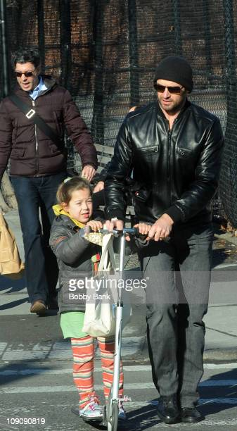 Hugh Jackman and his daughter Ava Jackman seen on the streets of Manhattan on February 14 2011 in New York City