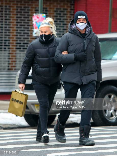 Hugh Jackman and his wife Deborra-Lee Furness are seen on February 23, 2021 in New York City.
