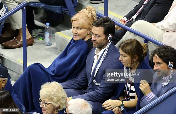 Hugh Jackman and his wife Deborra-Lee Furness arrive to attend the Men's Final on day fourteen of the 2015 US Open at USTA Billie Jean King National...