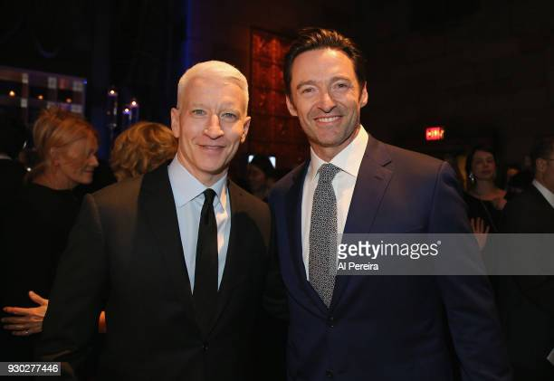 Hugh Jackman and honoree Anderson Cooper attend The 2018 Windward School Benefit at Cipriani 42nd Street on March 10 2018 in New York City The...