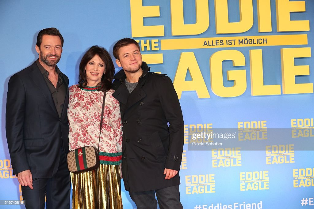 Hugh Jackman and Iris Berben and Taron Egerton during the 'Eddie the Eagle' premiere at Mathaeser Filmpalast on March 20, 2016 in Munich, Germany.