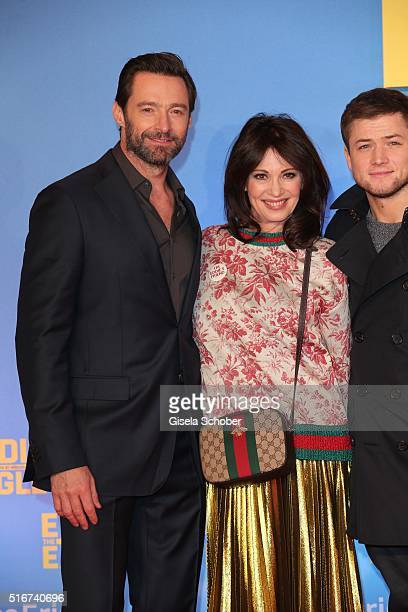 Hugh Jackman and Iris Berben during the 'Eddie the Eagle' premiere at Mathaeser Filmpalast on March 20 2016 in Munich Germany