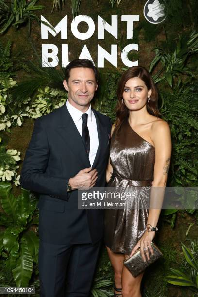 Hugh Jackman and Isabeli Fontana attend the Montblanc Booth Experience at SIHH 2019, Palexpo on January 14, 2019 in Geneva, Switzerland.