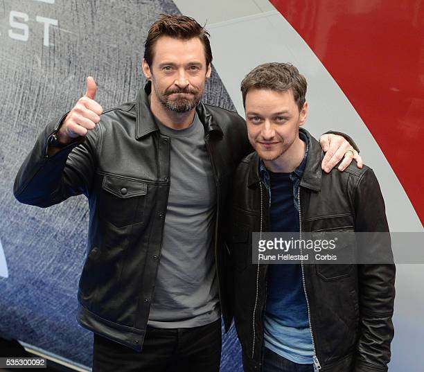 """Hugh Jackman and James McAvoy attend the unveiling of Virgin trains """"X- Men: Days Of Future Past"""" 11 carriage Pendolino at Euston Station."""