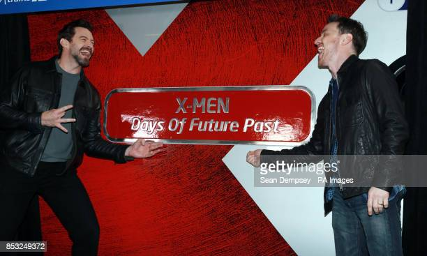 Hugh Jackman and James McAvoy name a Virgin train at Euston station in London to celebrate Virgin Trains partnership with Twentieth Century Fox Film...