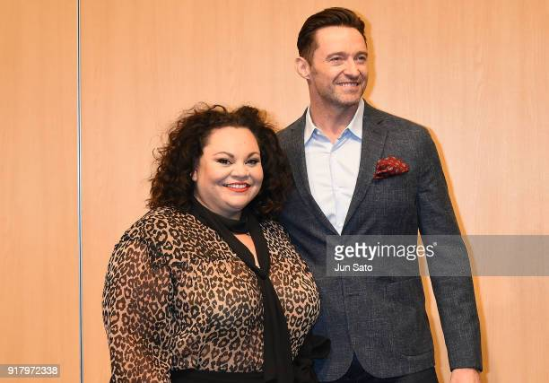 Hugh Jackman and Keala Settle attend the photocall for 'The Greatest Showman' at Midtown Hall on February 14 2018 in Tokyo Japan