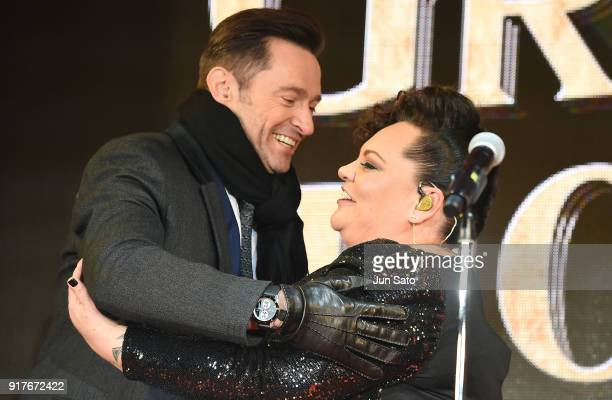 Hugh Jackman and Keala Settle attend the premier event for 'The Greatest Showman' at Kabukicho Cinecity Park on February 13 2018 in Tokyo Japan