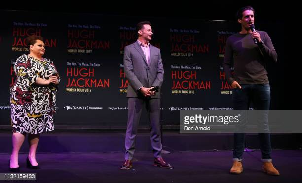 Hugh Jackman and Keala Settle look on as Andy Lee talks during a media announcement at Museum of Contemporary Art on February 26 2019 in Sydney...