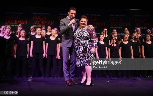 Hugh Jackman and Keala Settle perform during a media announcement at Museum of Contemporary Art on February 26 2019 in Sydney Australia