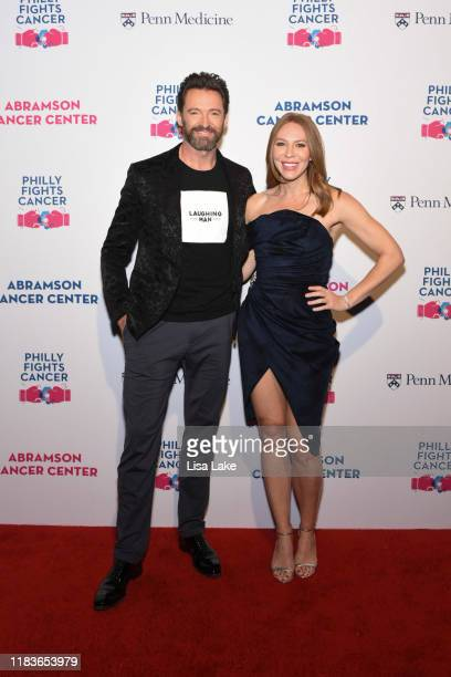 Hugh Jackman and Kristin Detterline walk the red carpet during the Philly Fights Cancer Round 5 Event benefiting Penn Medicine's Abramson Cancer...
