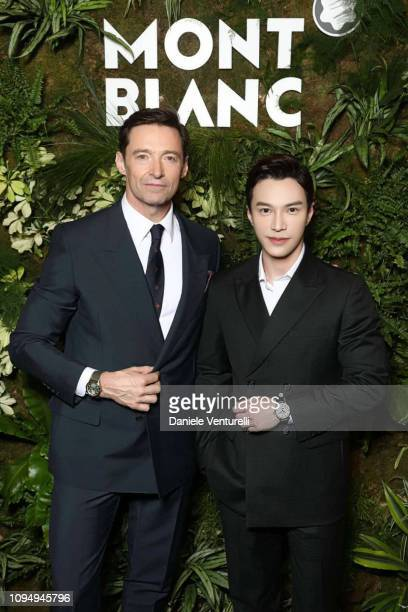 Hugh Jackman and Lawrence Wong attend Montblanc Booth At SIHH 2019 - Cocktail at Palexpo on January 14, 2019 in Geneva, Switzerland.