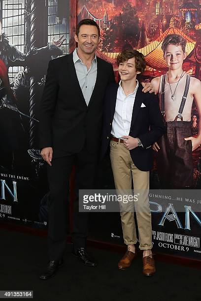 Hugh Jackman and Levi Miller attend the premiere of 'Pan' at Ziegfeld Theater on October 4 2015 in New York City