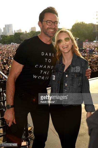 Hugh Jackman and Rachel Brosnahan pose onstage during the 2019 Global Citizen Festival: Power The Movement in Central Park on September 28, 2019 in...