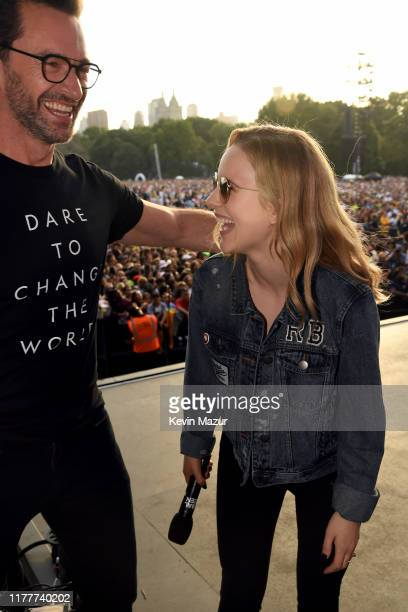 Hugh Jackman and Rachel Brosnahan speak onstage during the 2019 Global Citizen Festival Power The Movement in Central Park on September 28 2019 in...