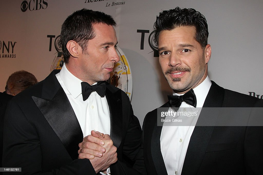 Hugh Jackman and Ricky Martin attend the 66th Annual Tony Awards at the Beacon Theatre on June 10, 2012 in New York City.