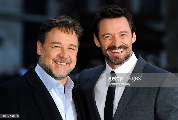 Hugh Jackman and Russell Crowe attend the UK premiere of Noah at Odeon Leicester Square on March 31 2014 in London England