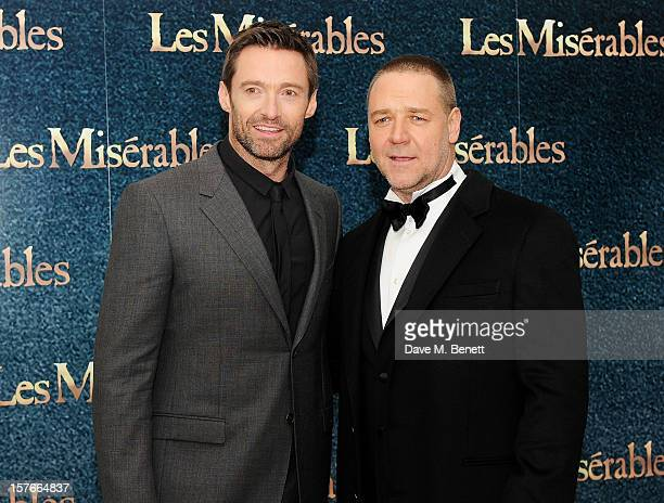 Hugh Jackman and Russell Crowe attend the World Premiere of 'Les Miserables' at Odeon Leicester Square on December 5 2012 in London England