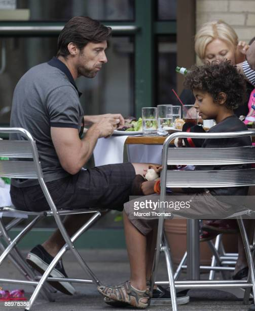 Hugh Jackman and son Oscar Jackman are sighted dining out on the Streets of Manhattan on July 10 2009 in New York City