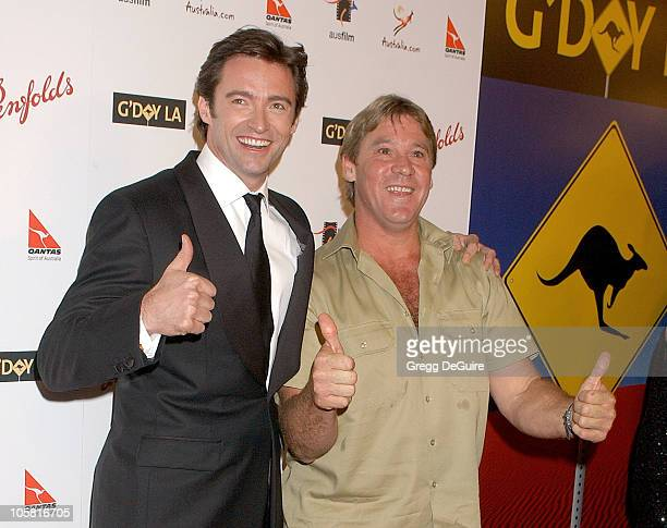 Hugh Jackman and Steve Irwin during G'Day LA: Australia Week 2006 - Penfolds Icon Gala Dinner - Arrivals in Los Angelees, California, United States.