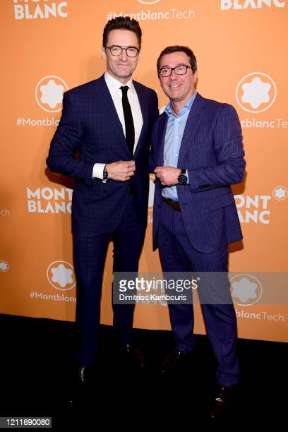 Hugh Jackman and Sylvain Costof attend as Montblanc celebrates the launch of MB 01 Headphones Summit 2 at World of McIntosh on March 10 2020 in New...