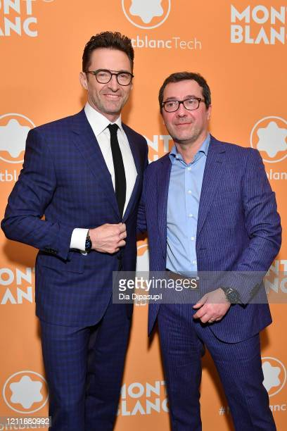 Hugh Jackman and Sylvain Costof attend the Montblanc MB01 Headphones Summit 2 Launch Party at World of McIntosh on March 10 2020 in New York City