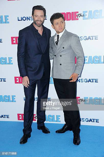 Hugh Jackman and Taron Egerton attend the European premiere of 'Eddie The Eagle' at Odeon Leicester Square on March 17 2016 in London England