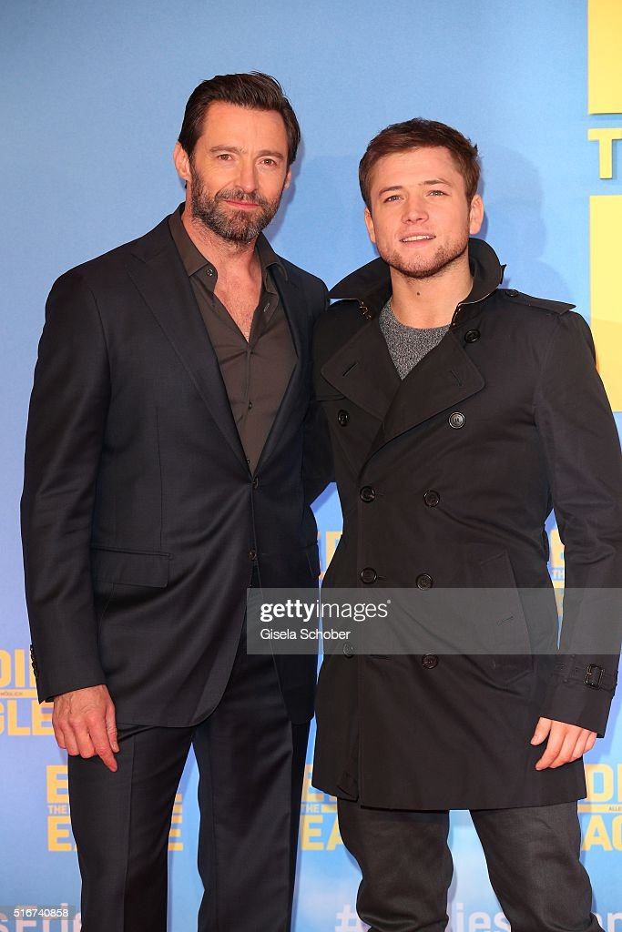 Hugh Jackman and Taron Egerton during the 'Eddie the Eagle' premiere at Mathaeser Filmpalast on March 20, 2016 in Munich, Germany.