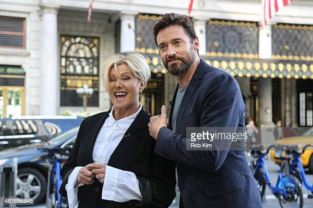Hugh Jackman and wife Deborra-Lee Furness are seen filming outside of The Plaza Hotel on May 1, 2014 in New York City.