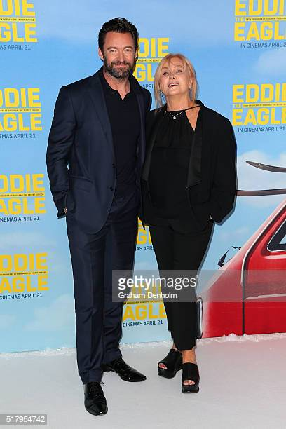Hugh Jackman and wife DeborraLee Furness arrive ahead of the Eddie The Eagle screening at Village Cinemas Crown on March 29 2016 in Melbourne...